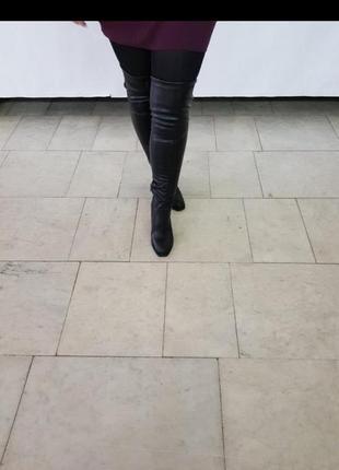 Кожаные высокие сапоги чулок ботфорты на любой подъем и полноту ноги