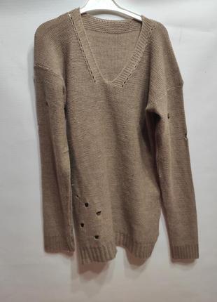 Темно бежевый свитер оверсайз