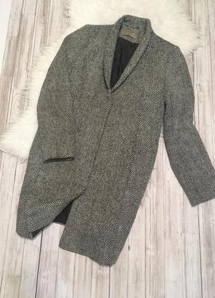 Меланжевое пальто бойфренд оверсайз прямого кроя s