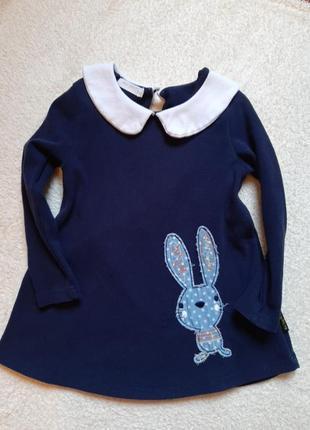 Теплое платье с зайкой на 2-4года