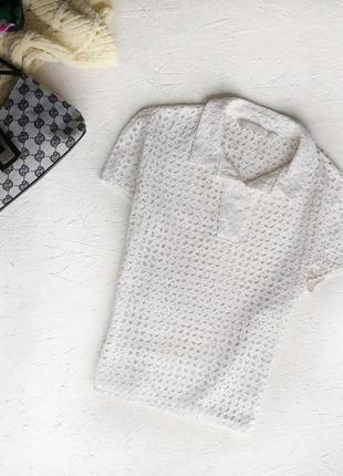 Мега стильная кружевная рубашка топ футболка ришелье белая белоснежная от zara