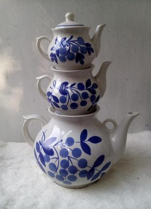 """Чайники 3 шт набор """"купеческий"""", славянский керамический, фарфор ссср"""