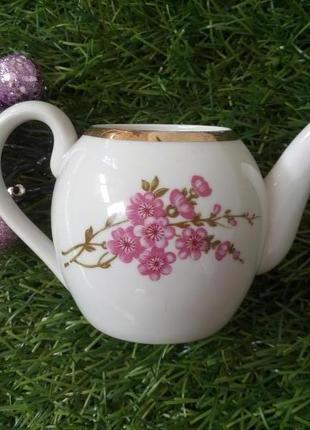 """Чайник, дулево, 70-е, 9 см, фарфор ссср заварной, """"вишневый цвет"""""""