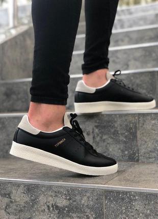 Шикарные женские кожаные кроссовки adidas topanga black 😍 (весна/ лето/ осень)