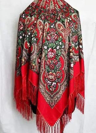 Українська національна хустка, национальный платок с бахромой, красный, в расцветках