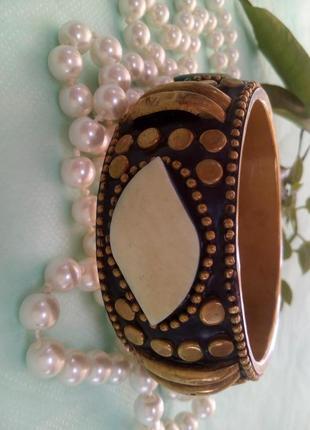 Браслет бронзовый с эмалью и слоновой костью, в этно стиле, винтажный старинный