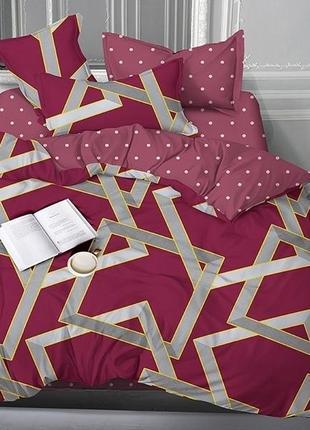 Двуспальный комплект двухстороннего постельного белья, сатин люкс
