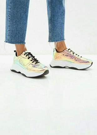 Радужные кросовки с галаграфическим покрытием topshop 37