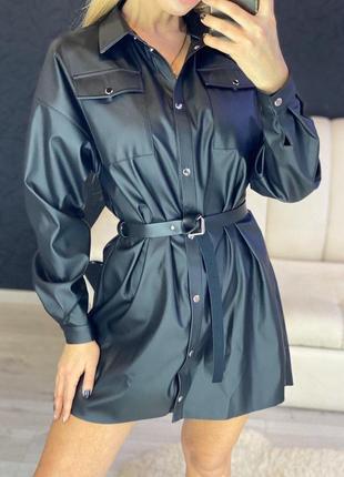Кожаное платье-рубашка с поясом4 фото