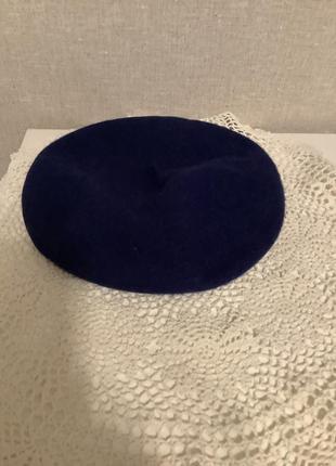 Шикарный темно-синий шерстяной берет