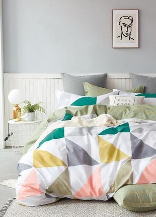 Дизайнерское сатиновое постельное белье премиум серия, евро размер 214
