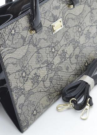 Лаковая сумка с8233 3 разных принта