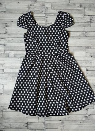 Платье lannuo черное в белый горошек женское