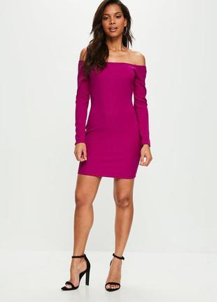 Яркое платье по фигуре с открытыми плечами в мелкий рубчик asos, платье резинка фуксия