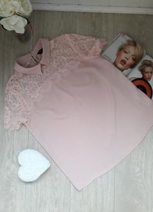 Красивая блуза с кружевом пудрового цвета размер м-л