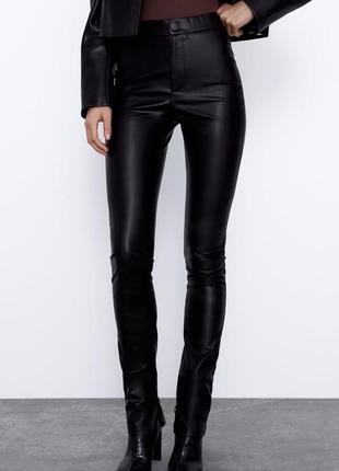 Узкие брюки из кожзама, экокожи, с высокой талией, m