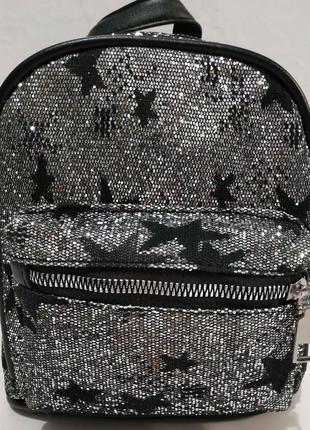 Городской небольшой рюкзак со звёздочками (чёрный) 20-01-001