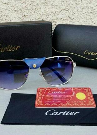Cartier pilot очки мужские солнцезащитные зеркальные синие