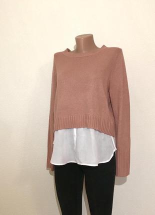 Крутой свитер джемпер пудра с рубашкой по низу h&m.