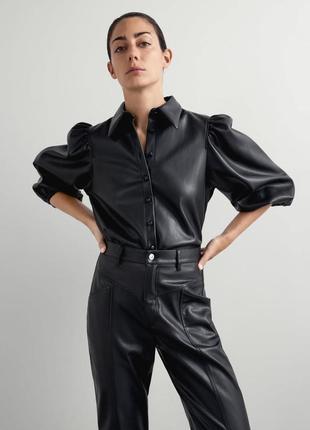 Рубашка блуза из искусственной кожи от zara коллекция 2020г.