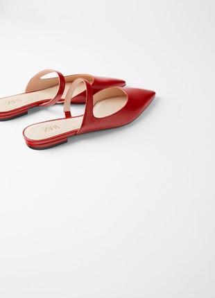 Красные мюли сабо алые шлепки шлёпанцы босоножки с острым носком на танкетке