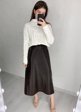 Трендовая юбка миди под кожу, актуальная кожаная юбка с высокой посадкой