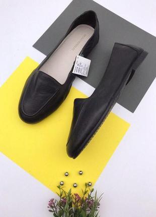 Кожаные мягкие туфли на низком ходу
