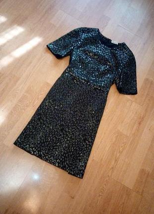 Платье миди чёрное бронзовое с отливом карманы есть подкладка whistles
