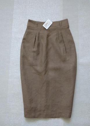 Шикарная льняная юбка карандаш 100% лён