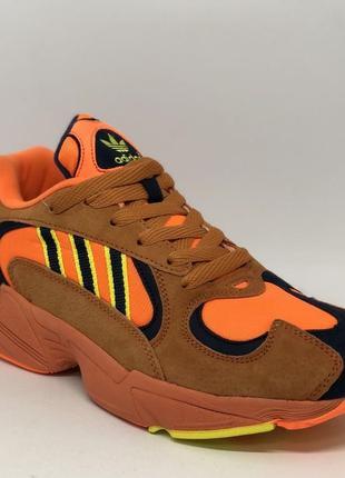 Кроссовки мужские в стиле adidas yung-1 625-5 оранжевые с синим