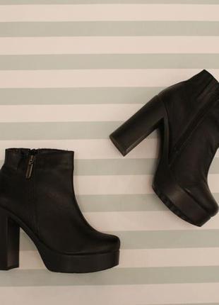Демисезонные кожаные ботильоны, ботинки 37 размера на устойчивом каблуке