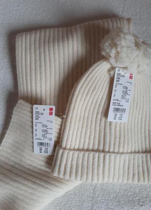 Набор шапка и шарф белый крем uniqlo япония