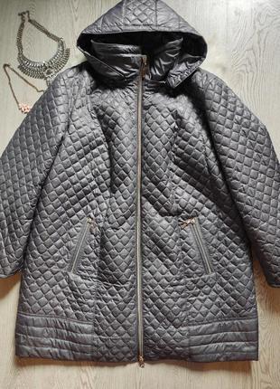 Серая стеганая куртка деми на молнии пальто с узором длинная батал большой размер
