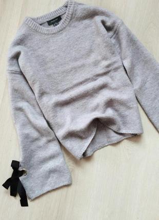 Свитер с объемными рукавами. свитер вязанный. удлиненный свитер.