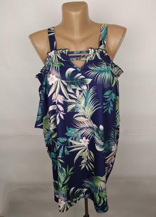 Блуза новая эластичная в тропический принт yours uk 16/44/xl