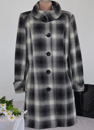 Брендовое демисезонное пальто с карманами в клетку debenhams вьетнам шерсть акрил
