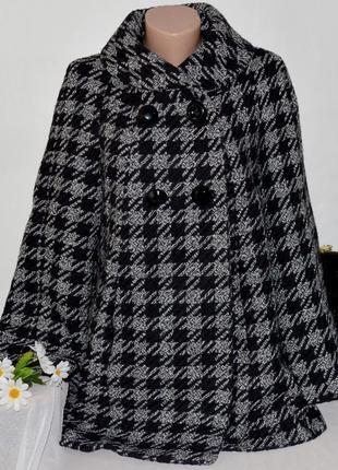 Брендовое черно-белое шерстяное демисезонное пальто с карманами в клетку tu вьетнам