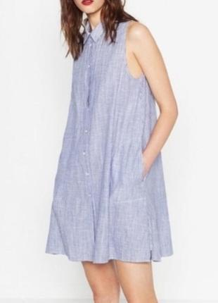 Коттоновое платье рубашка zara