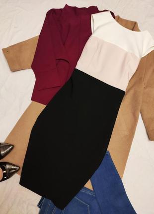 Классическое платье офисное деловое чёрное белое розовое футляр карандаш marks spenser