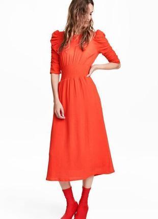 H&m платье миди морковное оранжевое красное рукав три четверти