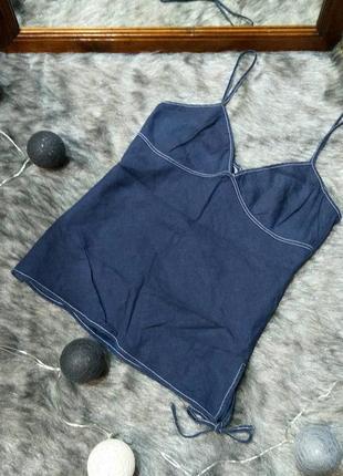 Блуза топ кофточка в бельевом стиле из льна topshop