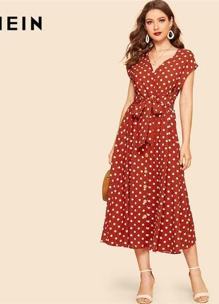 Терракотовое миди платье в горошек