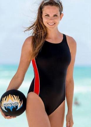 Красивый цельный спортивный купальник/для бассейна/ с вырезом на спине
