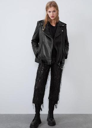 Куртка косуха из натуральной кожи zara