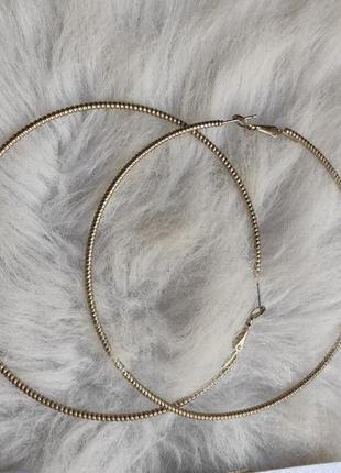 Серебряные большие круглые серьги кольца серебристые тонкие гипоаллергенная бижутерия
