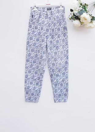 Крутые брюки повседневные штаны в цветы легкие штаны
