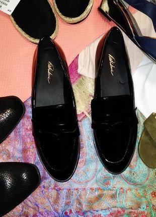 Лоферы туфли фирменные, лакированые,черного цвета dark side