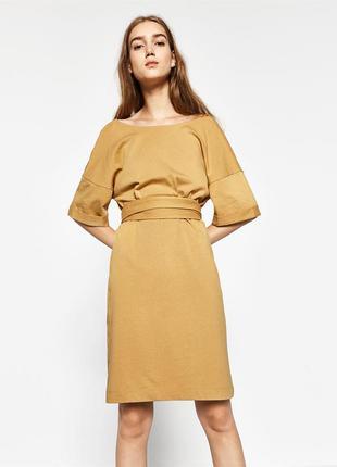 Горчичное платье zara, s