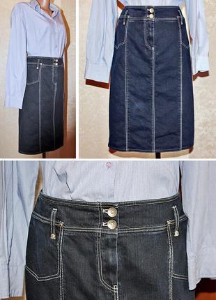 Джинсовая юбка миди в стиле сдержанной классики frank walder размер 38-40