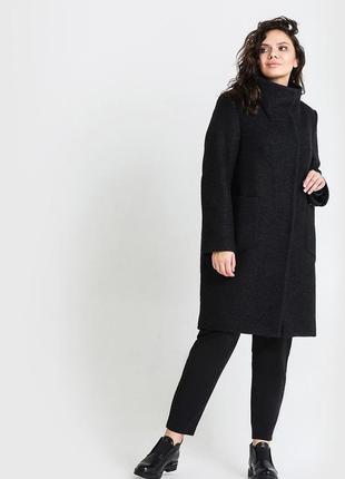 Брендовое черное демисезонное пальто полупальто с карманами e-vie вискоза большой размер